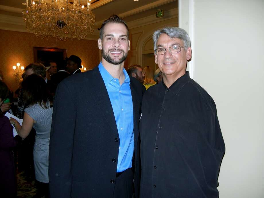SF Giants pitcher Ryan Vogelsong (left) with former SF Giants pitcher Dave Dravecky at the Ritz-Hotel during the Guardsmen Sports Auction fundraiser. Photo: Catherine Bigelow, Special To The Chronicle