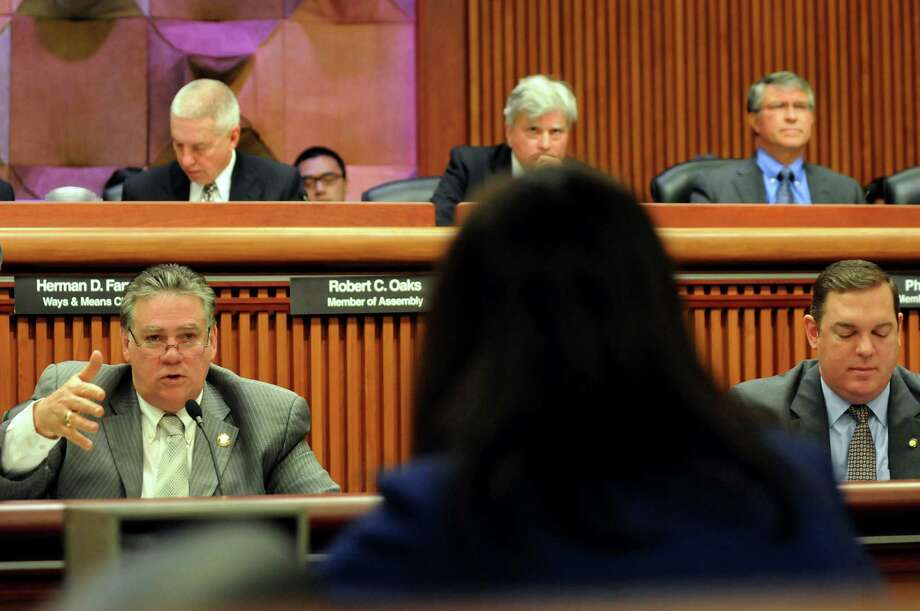 Assemblyman Al Graf, lower left, questions Gail Prudenti, chief administrative judge, during a joint budget hearing on public protection on Wednesday, Feb. 5, 2014, at the Legislative Office Building in Albany, N.Y. (Cindy Schultz / Times Union) Photo: Cindy Schultz / 00025640A