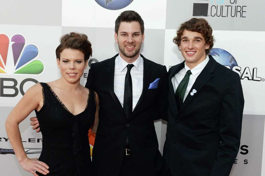 BEVERLY HILLS, CA - JANUARY 12: (L-R) Hockey Player Caitlin Cahow, Fencer Tim Morehouse and Freeskier Nick Goepper attend the Universal, NBC, Focus Features, E! sponsored by Chrysler viewing and after party at The Beverly Hilton Hotel on January 12, 2014 in Beverly Hills, California. Photo: Jason Kempin, Getty Images For NBCUniversal / 2014 Getty Images