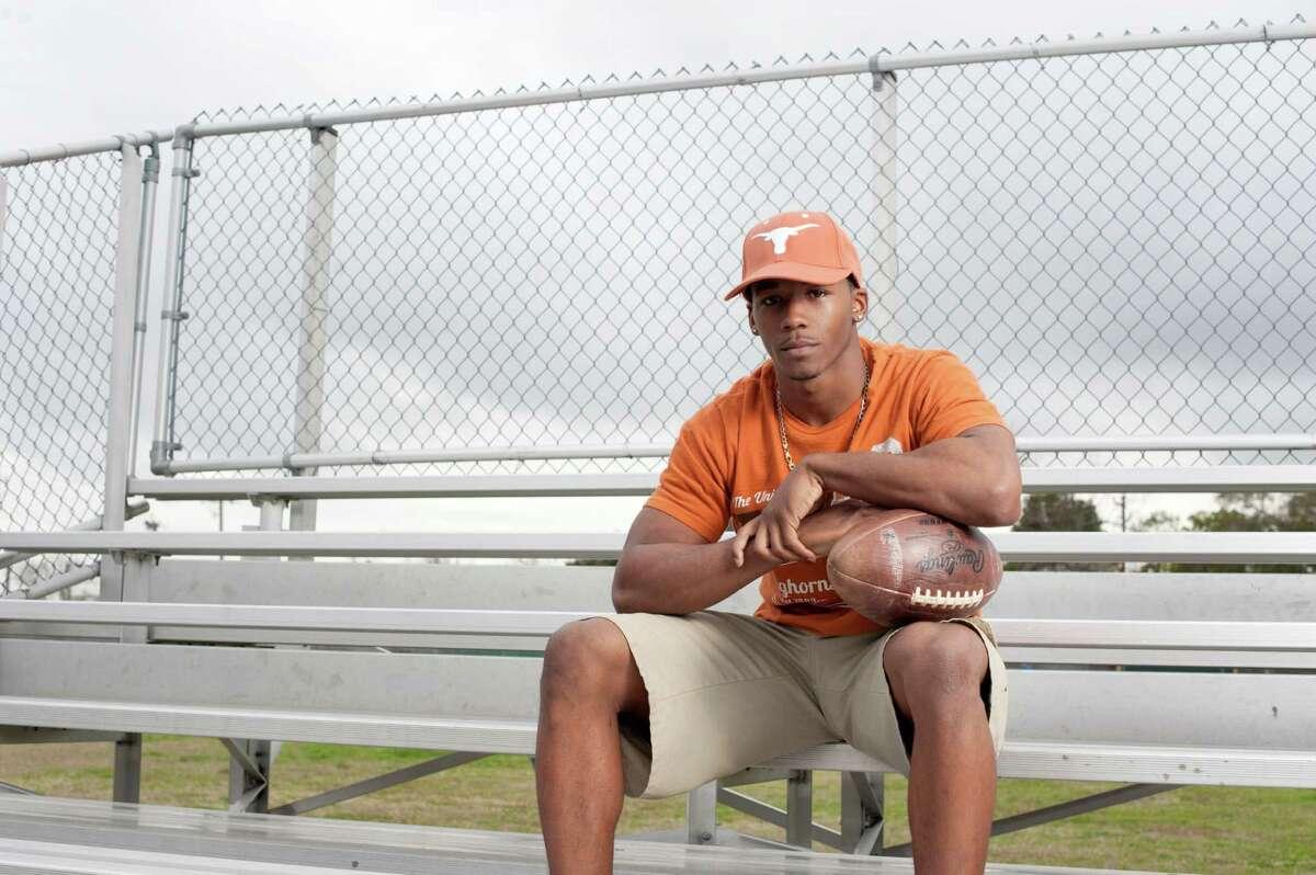 Receiver Roderick Bernard, here sitting near his old training grounds at Sharpstown High School, was part of Texas' 23-member recruiting class on Wednesday.