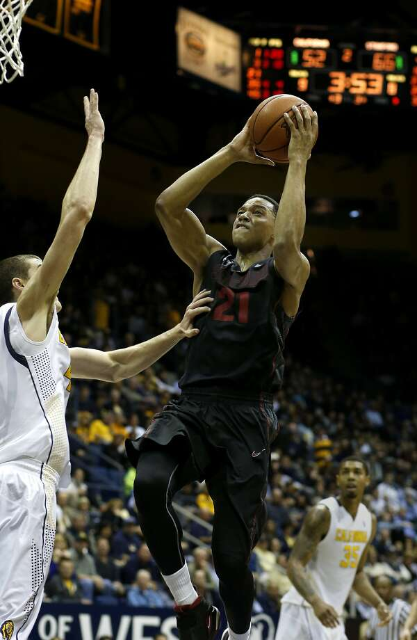 Anthony Brown shoots over Cal's David Kravish. Brown is coming off a career-high 30-point game. Photo: Brant Ward, The Chronicle