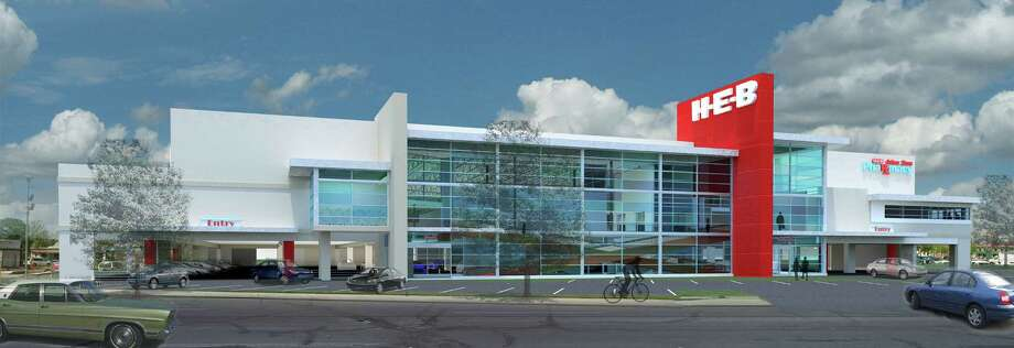 This is what the new H-E-B grocery on Nogalitos Street would look like. The structure would be multilevel, with parking on the first floor and a wide escalator to carry customers and their shopping carts between floors. Photo: Courtesy H-E-B
