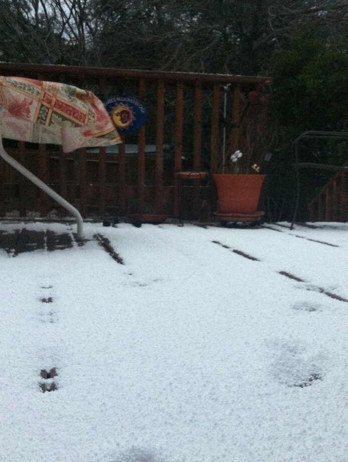 Sleet-covered deck in Encino Park.
