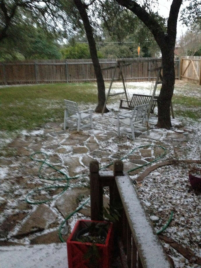 A South Texas blizzard? Just a dusting of freezing rain or sleet, which roared through Bexar County early Thursday. Photo: By Burt Henry