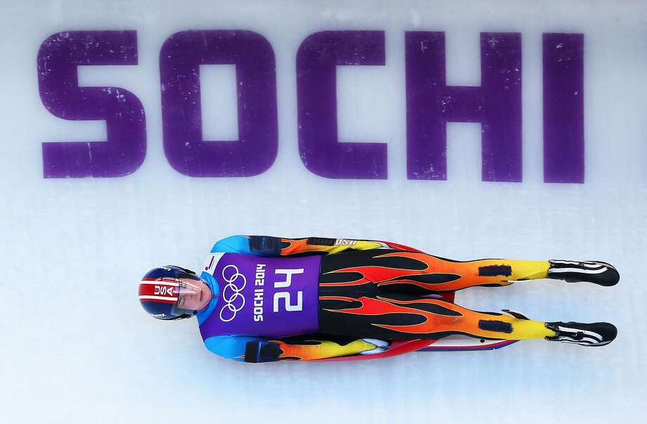 Tucker West, of Ridgefield, Conn. makes a run during the men's luge training session ahead of the Sochi 2014 Winter Olympics at the Sanki Sliding Center on February 6, 2014 in Sochi, Russia. Photo: Alex Livesey, Getty Images
