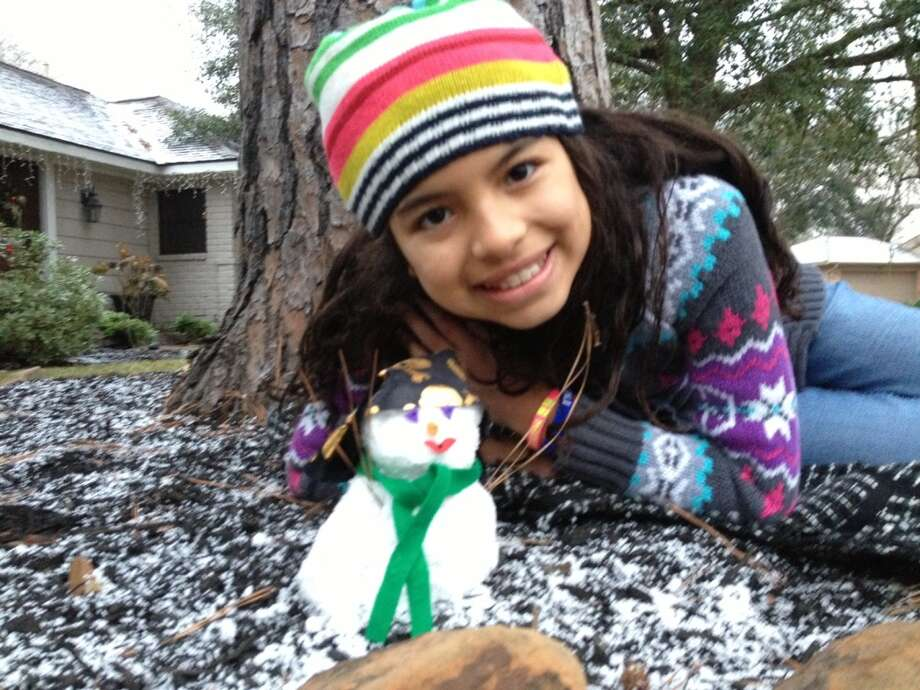 Carla Lujan, Salyers Elementary President, with her pirate snowman this morning before heading to school. (Submitted by Blanca Lujan)