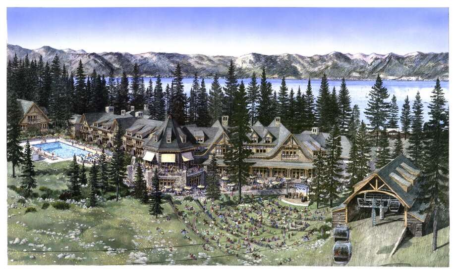 Proposed base lodge, hotel and amphitheatre from the master plan