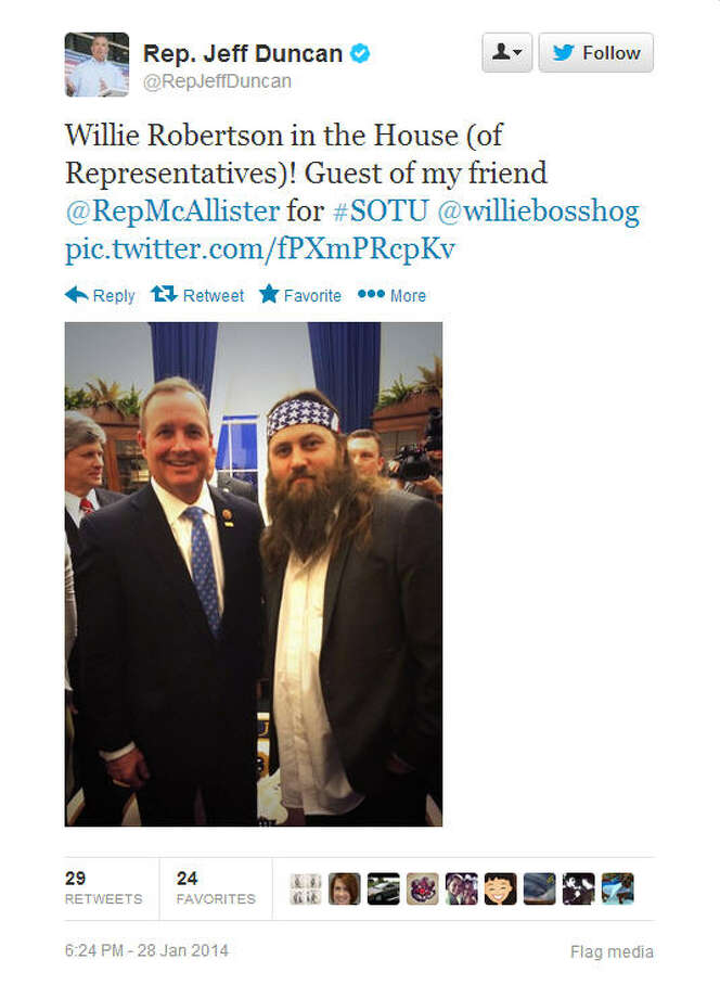 Rep. Jeff Duncan, R-S.C., managed to nab a pic with the Duck Dynasty star on the floor of the House.Source: Twitter