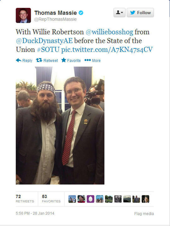 Rep. Thomas Massie, R-Ky., cracks a smile in his photo with the Duck Dynasty star.Source: Twitter
