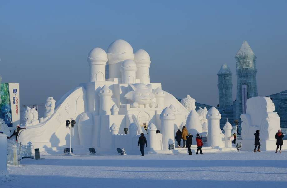 "Even the finest snowmen and snow angels have nothing on these incredible snow and ice sculptures from the Harbin International Ice and Snow Festival in China and ""Fantasy Ice World"" in Taipei, Taiwan. Pictured: A snow castle at the Harbin International Ice and Snow Festival in China. Photo: GOH CHAI HIN, AFP/Getty Images"