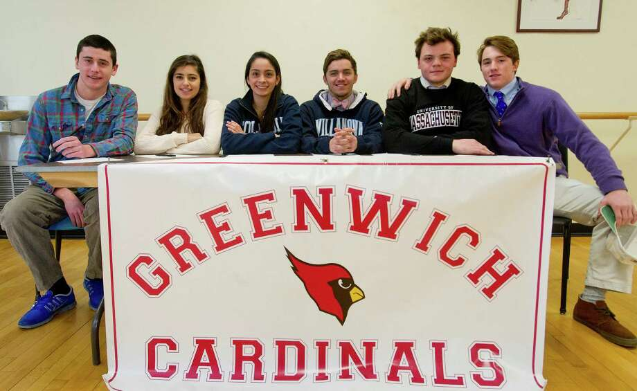 Greenwich students who will be playing sports in college pose for a photo at Greenwich High School on Thursday, February 6, 2014. From left are Mack Neary, who will be playing water polo at Colgate; Nicolette Shender, who will be fencing at Northwestern University; Cristina Frias, who will be swimming at Columbia University; Andrew Stotesbery, who will be swimming at Villanova; Jack Wynne, who will play football for UMASS; and Jack Nail, who will be playing lacrosse at Holy Cross. Photo: Lindsay Perry / Stamford Advocate