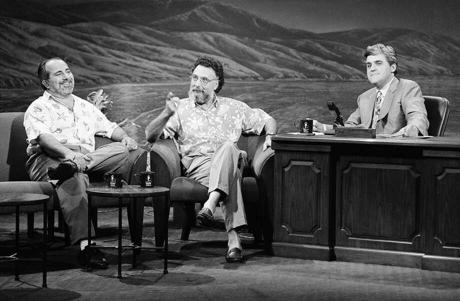 "Jay Leno interviews ""Click & Clack,"" Ray and Tom Magliozzi. Photo: NBC, NBCU Photo Bank Via Getty Images"