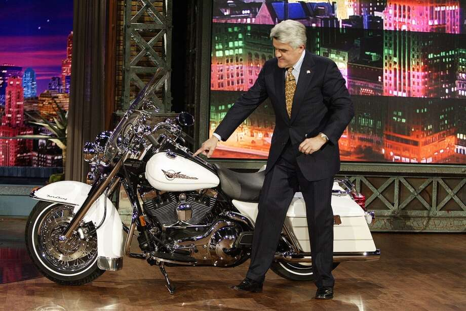 In 2005 Leno announced on the show the he would partner with Harley-Davidson to raise funds for victims of the Indian Ocean tsunami. Leno will have guests sign the motorcycle and then auction it off. Photo: Getty Images