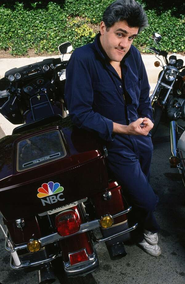 Jay Leno poses with one of his many motorcycles  in 1989. Photo: George Rose, Getty Images