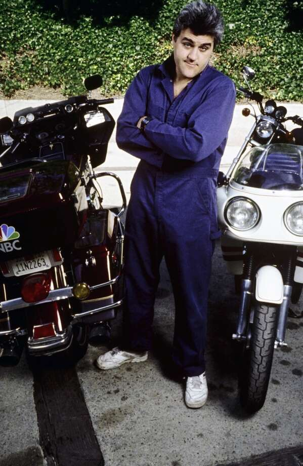 Jay Leno, poses with one of his many motorcycles in 1989. Photo: George Rose, Getty Images
