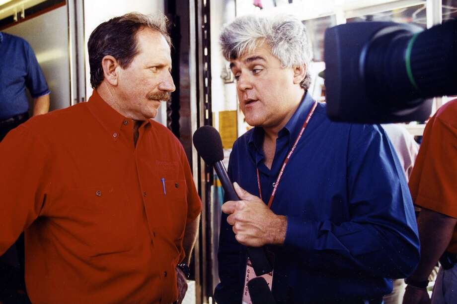 Jay Leno interviews Dale Earnhardt. Photo: RacingOne, ISC Archives Via Getty Images