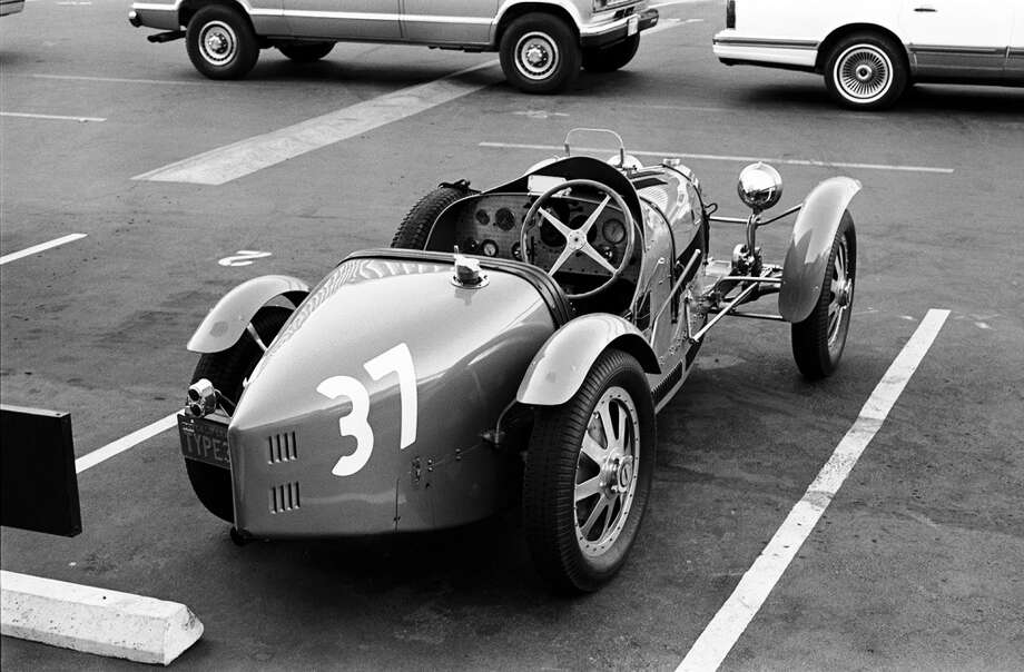 One of Jay Leno's many automobiles, a 1926 Bugatti type 37a seen his his parking spot in 1992. Photo: Wendy Perl, Wendy Perl/NBCU Photo Bank