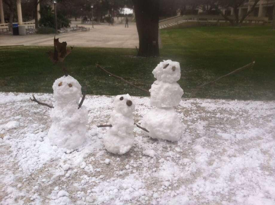 Snowmen at UTSA 1604 Photo: Courtesy