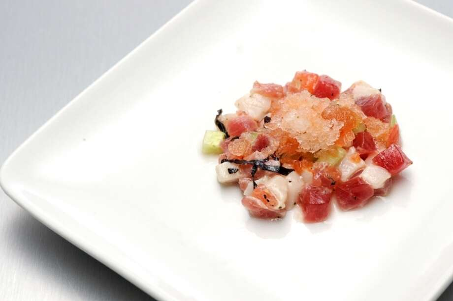 Tuna and Escolar Tartare With Tomato Water and Jalapeno