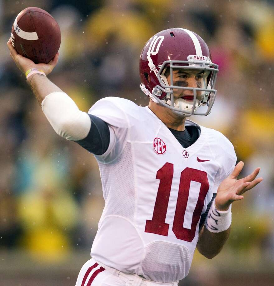 A.J. McCarron  Alabama  Redshirt senior  6-3, 214 pounds  Career stats: 9,019 yards passing, 77 TD, 15 INT, 66.9 completion percentage  The Alabama quarterback started for the Crimson Tide in their two most recent BCS National Championships in 2012 and 2013. Photo: Shane Keyser, McClatchy-Tribune News Service