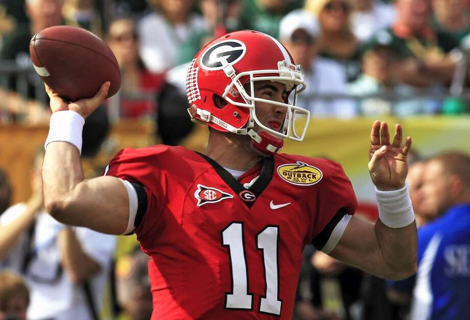 Aaron Murray  Georgia  Redshirt senior  6-1, 210 pounds  Career stats: 13,166 yards passing, 121 TD, 41 INT, 62.3 completion percentage, 396 yards rushing, 16 TDIt's not a question of if but when the Georgia standout is drafted after suffering a torn ACL as a senior for the Bulldogs. Photo: Chris O'Meara, Associated Press