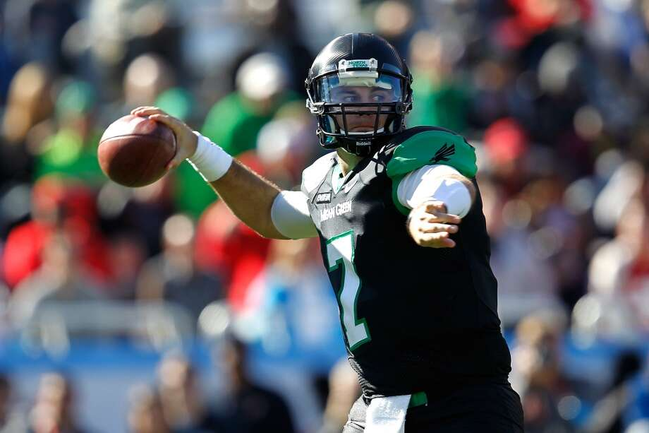 Derek Thompson   North Texas  Redshirt senior  6-4, 218 pounds  Career stats: 7,427 yards passing, 42 TD, 34 INT, 60.3 completion percentage, 313 yards rushing, 8 TD Photo: Sarah Glenn, Getty Images