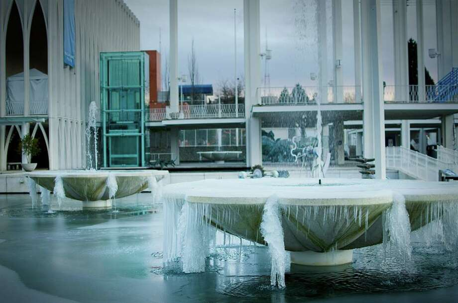 More pretty pictures of frozen fountains at the Pacific Science Center on Feb. 6, 2014.  Photo: Pacific Science Center.