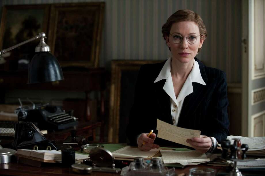 "As Claire Simone, Cate Blanchett re-creates Rose Valland's actual experiences as an archivist in Paris in ""The Monuments Men."" Photo: Claudette Barius, HOEP / Columbia Pictures - Sony"