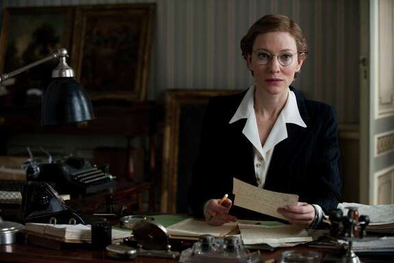 "As Claire Simone, Cate Blanchett re-creates Rose Valland's actual experiences as an archivist in Paris in ""The Monuments Men."""