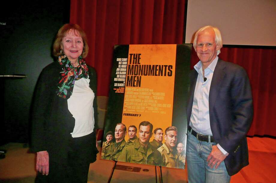 Florence Phillips, left, of Cos Cob, met up recently with Robert Edsel, author of the book, âÄúThe Monuments Men,âÄù which has been made into a major motion picture that premiers Friday in New York City. Phillips' father, the late Mason Hammond, served as the first Monuments Man in World War II, according to Edsel, and was assigned the task of recovering and protecting art stolen by the Nazis. Photo: Anne W. Semmes / Greenwich Citizen