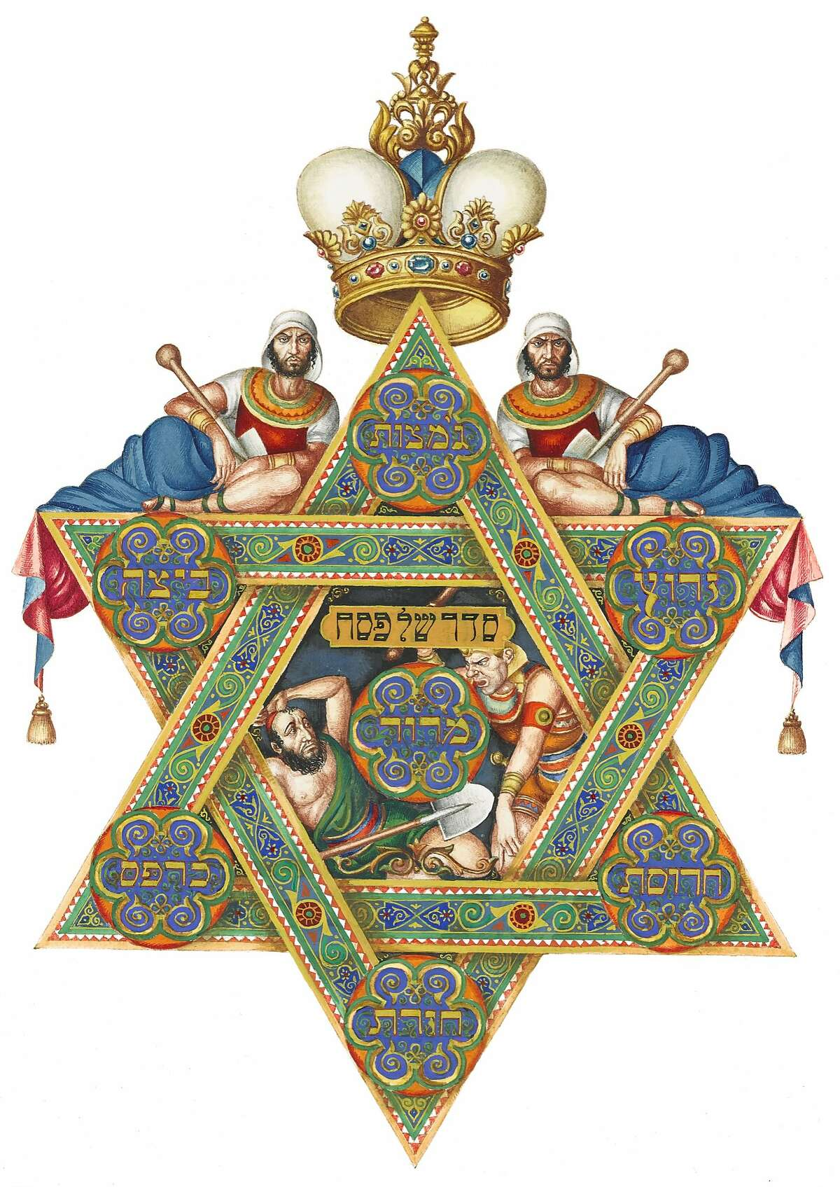 """Photo two: """"The Seder Plate"""" (1935) watercolor and gouache on paper by Arthur Szyk. The Robbins Family Collection. Photo by The Arthur Szyk Society."""