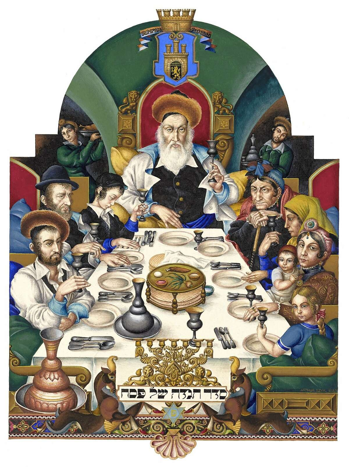 """""""The Family at the Seder"""" (1936) watercolor and gouache on paper by Arthur Szyk. The Robbins Family Collection. Photo by The Arthur Szyk Society."""