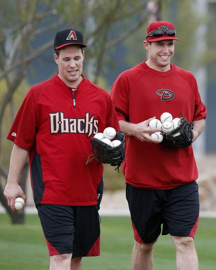 For Blake Lalli (left) and Paul Goldschmidt, it's spring training. Photo: Ross D. Franklin, Associated Press