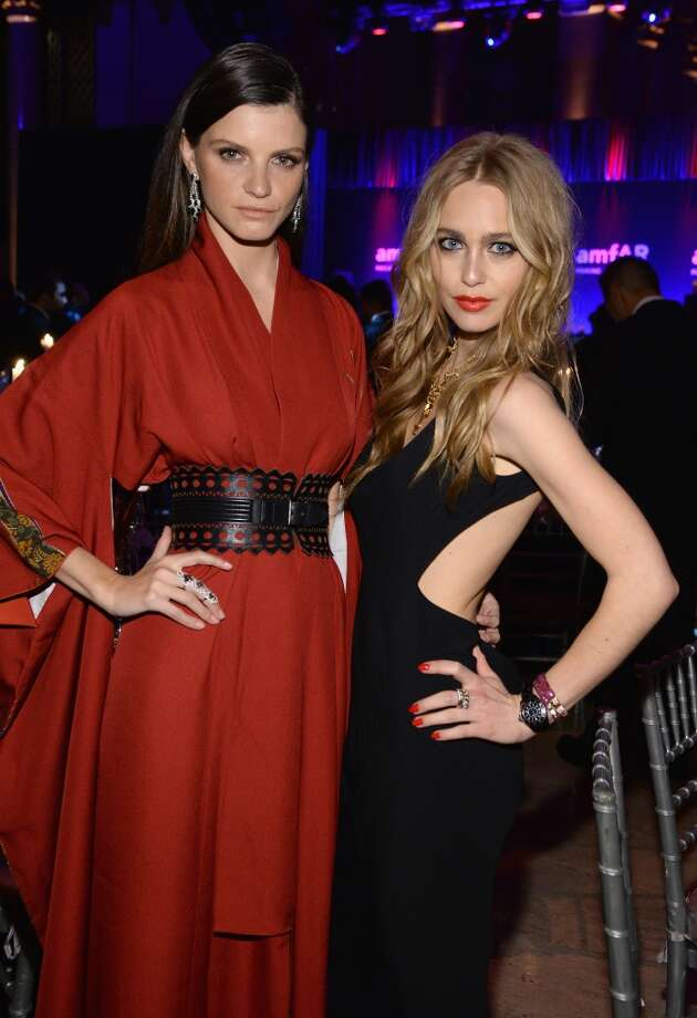 Model Jeisa Chiminazzo (L) and Katharina Damm attend the 2014 amfAR New York Gala at Cipriani Wall Street on February 5, 2014 in New York City.  (Photo by Larry Busacca/Getty Images) Photo: Larry Busacca, Getty Images
