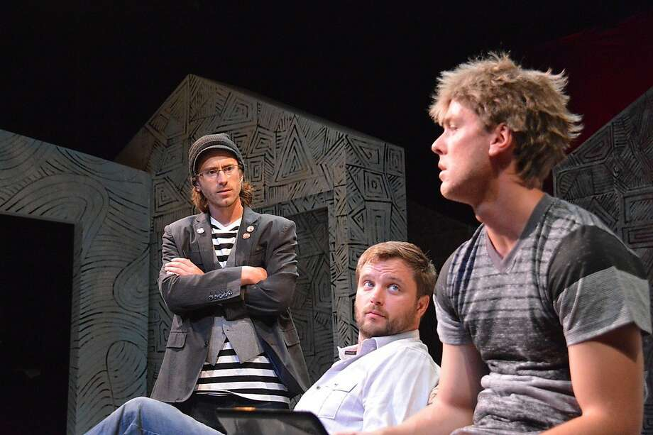 "From left, Paul (Harold Pierce), Gareth (Lasse Christiansen) and Gunter (Carl Holvick-Thomas) debate the nature of art in ""A Maze."" Photo: Jay Yamada"