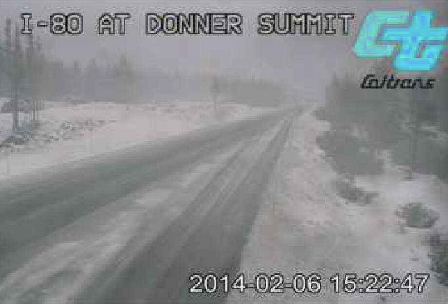 At I-80 at Donner Summit in the Sierra Nevada, the first snowflakes started Thursday afternoon -- this shot taken at 3:22 p.m. Photo by Caltrans.