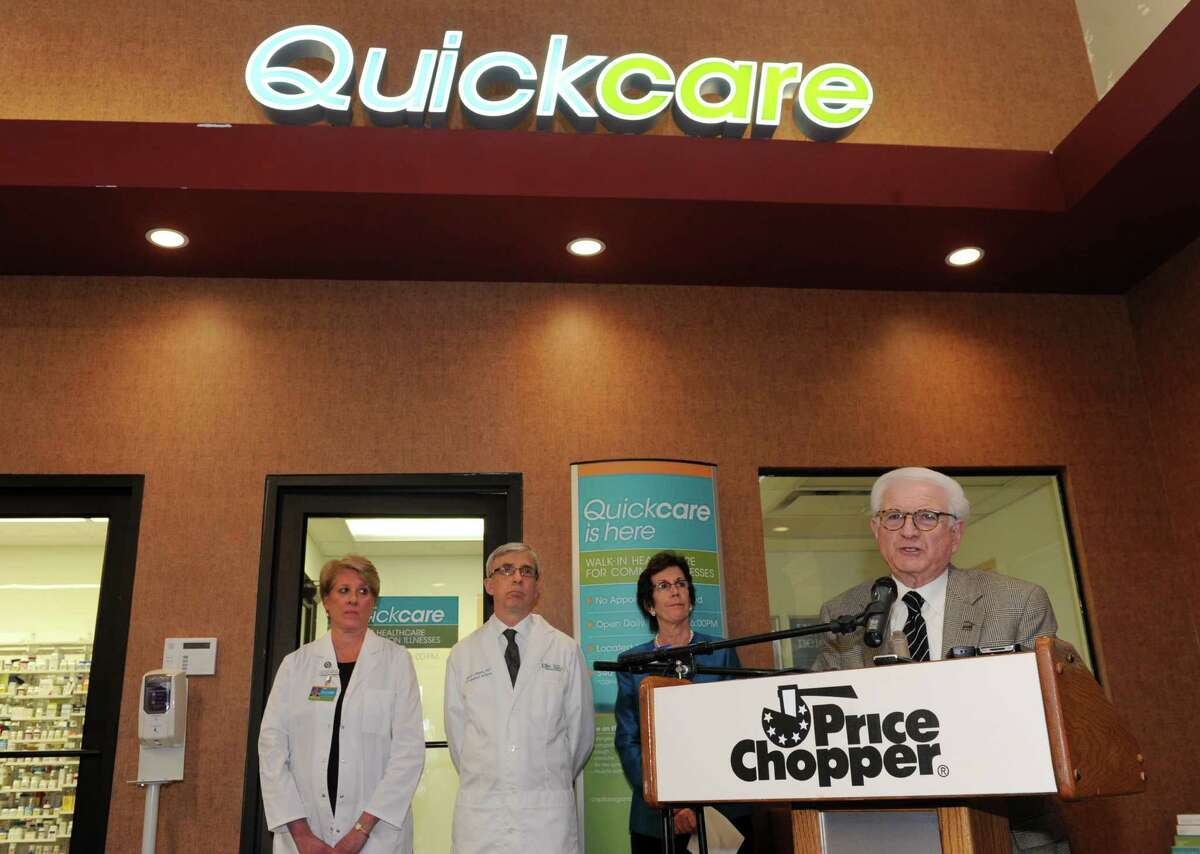 Neil Golub, executive chairman of the board for Price Chopper, speaks during the grand opening of QuickCare at the Price Chopper Market Bistro on Thursday, Feb. 6, 2014, in Latham, N.Y. QuickCare is a walk-in healthcare center for common illnesses staffed by Ellis Medicine health professionals located at Price Chopper's Market Bistro in Latham and its Malta supermarket. (Lori Van Buren / Times Union)