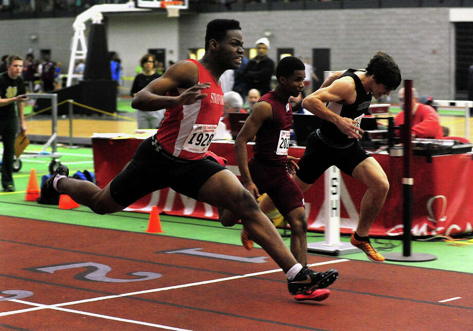 Stratford's Warren Jones competes in the 55 meter dash, during Class L Championship track action at Hillhouse High School's Floyd Little Athletic Center in New Haven, Conn. on Thursday February 6, 2014. Photo: Christian Abraham / Connecticut Post