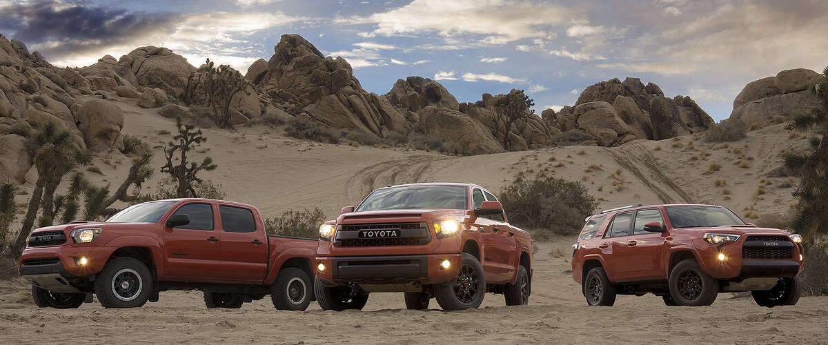 At the Chicago Auto Show, Toyota has debuted off-road TRD Pro Series editions of the San Antonio-made Tacoma (from left) and Tundra pickups and the Japanese-built 4Runner SUV. Past TRD models have won numerous awards.
