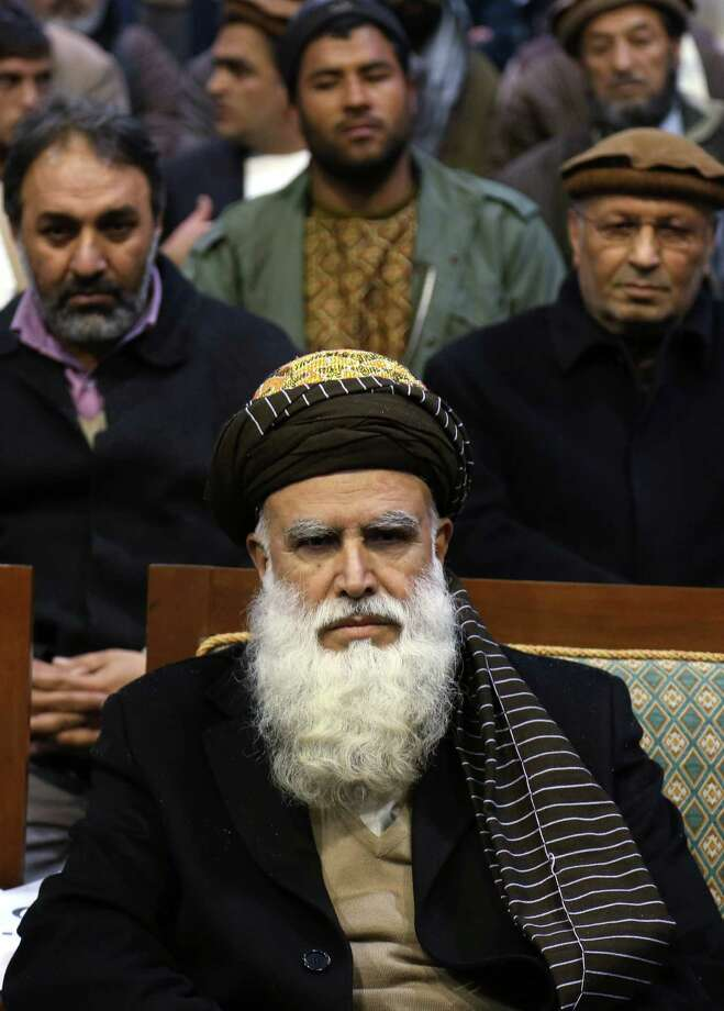 Abdul Rab Rasoul Sayyaf appears to be trying to broaden his support. Photo: Rahmat Gul, STR / AP