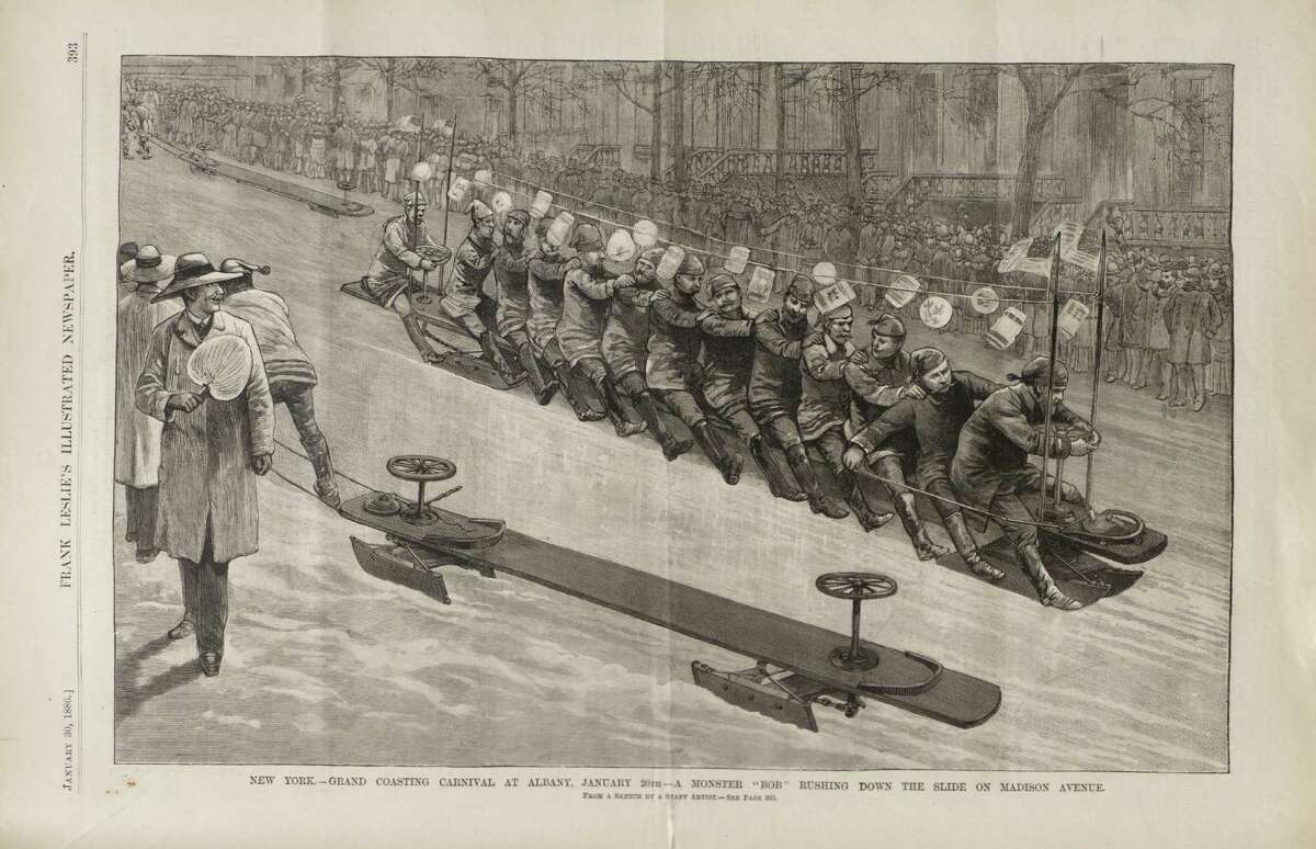 A bobsled race down the Madison Avenue hill in Albany in January, 1888 is shown in Leslie's Illustrated Weekly. (Photo courtesy NYS Library)