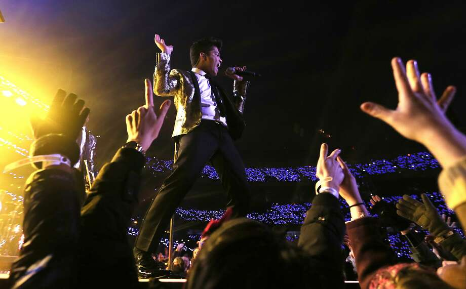 """Bruno Mars performs during the Super Bowl XLVIII """"Pepsi Halftime Show"""" at MetLife Stadium last Sunday. Photo: Jamie Squire, Getty Images"""