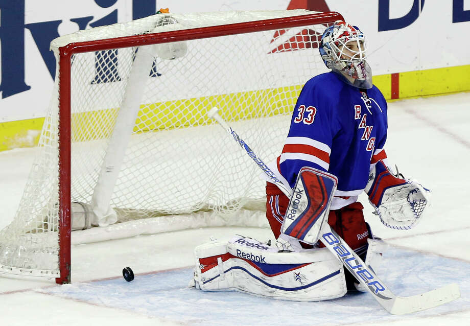 New York Rangers goalie Cam Talbot (33) reacts after a shot by Edmonton Oilers' Nail Yakupov, of Russia, got past him for a goal during the third period of an NHL hockey game on Thursday, Feb. 6, 2014, in New York. The Oilers won the game 2-1. (AP Photo/Frank Franklin II) ORG XMIT: MSG112 Photo: Frank Franklin II / AP