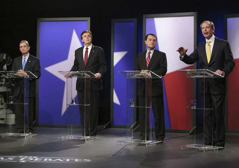 Republican candidates for lieutenant governor (from left) are Land Commissioner Jerry Patterson, Sen. Dan Patrick, Agricultural Commissioner Todd Staples and the incumbent, Lt. Gov. David Dewhurst. This debate was last week in Dallas. Photo: LM Otero / Associated Press / AP