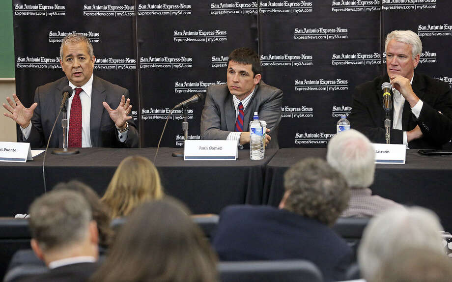 SAWS CEO Robert Puente (from left) speaks during the forum. Listening on the panel are UTSA Professor Juan Gomez and state Rep. Lyle Larson. Photo: Tom Reel / San Antonio Express-News