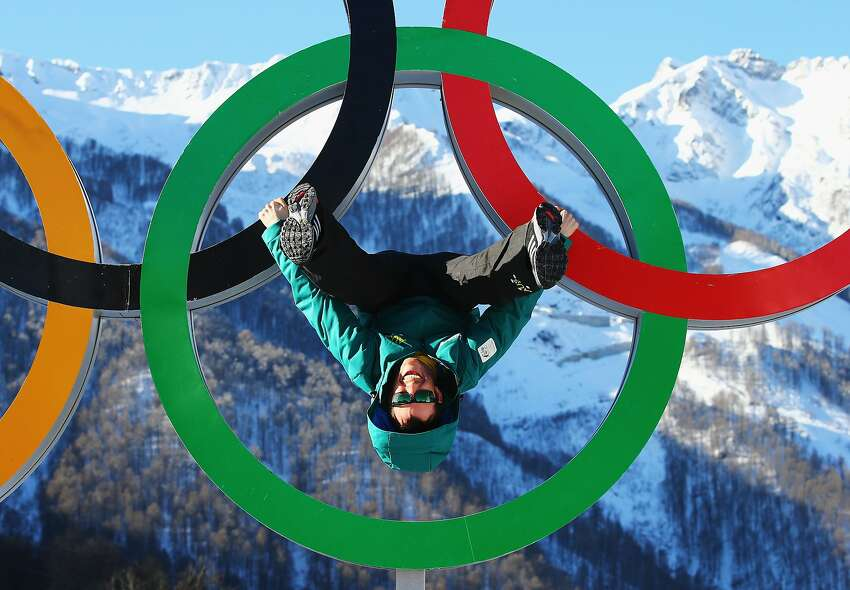 Australian arial skiier Dave Morris poses on the Olympic Rings in the Athletes Village ahead of the Sochi 2014 Winter Olympics at Rosa Khutor on February 6, 2014 in Sochi, Russia.