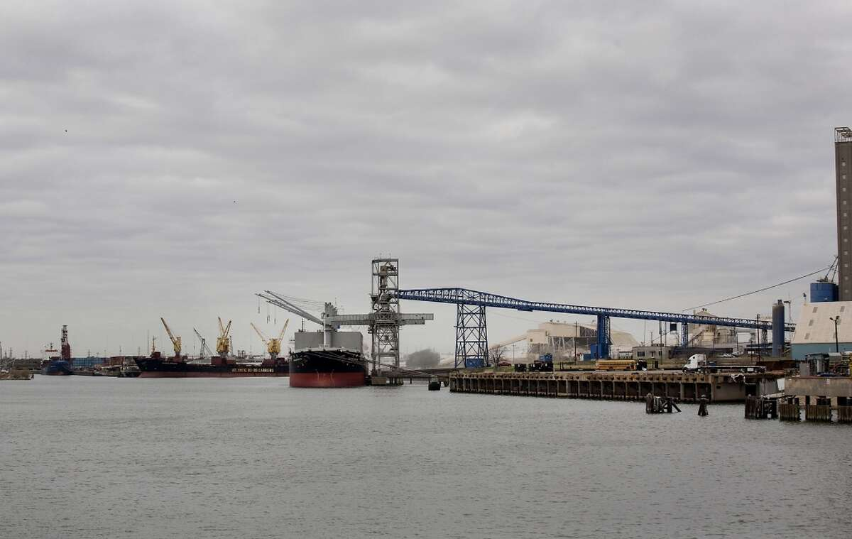 A ship sits docked along the Houston Ship Channel in Houston, Texas, U.S., on Thursday, Jan. 30, 2014.