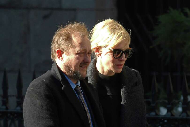 Actress Cate Blanchett and her husband Andrew Upton arrive at the the Church of St. Ignatius Loyola