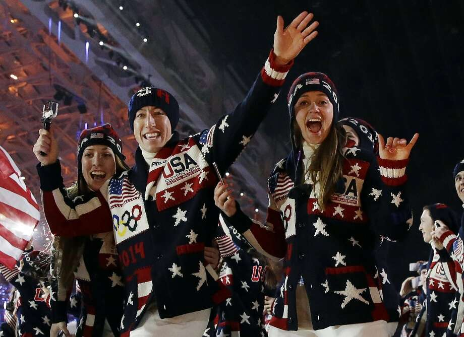 The United States team arrives during the opening ceremony of the 2014 Winter Olympics in Sochi, Russia, Friday, Feb. 7, 2014. Photo: Patrick Semansky, Associated Press