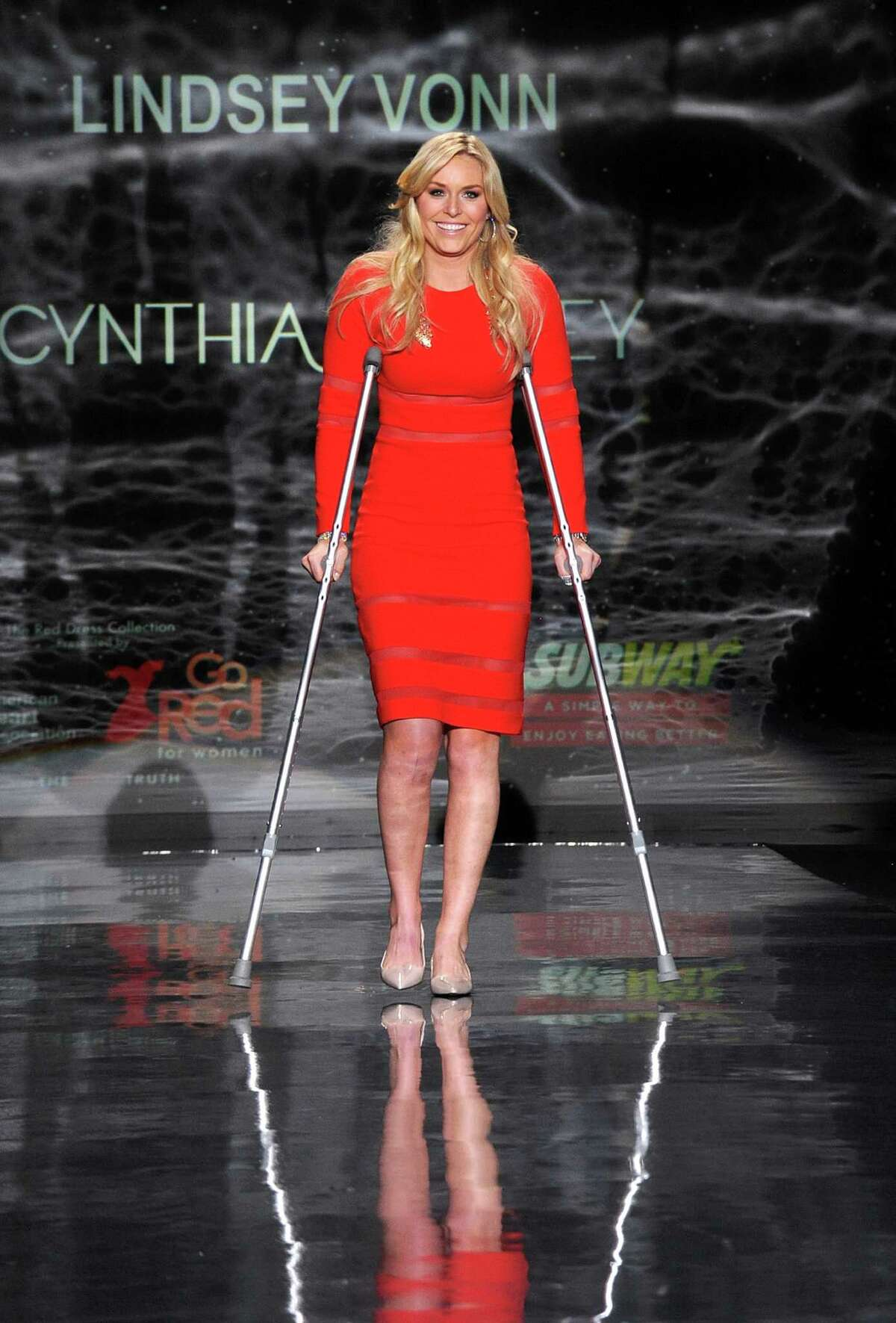 Lindsey Vonn works the runway Thursday during Fashion Week in New York.